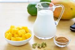 Mango lassi smoothie ingredients. Royalty Free Stock Photos