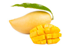 Mango with leaf and slice isolated. Stock Photos
