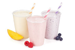 Mango, malinka i czarna jagoda jogurtu Smoothies, Obraz Stock