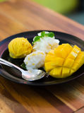 Mango, mango pudding, mango ice cream with sticky rice Royalty Free Stock Photo
