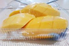 Mango met het kleverige rijstdessert toping met kokosmelk stock afbeeldingen