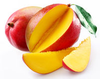 Mango met sectie Royalty-vrije Stock Afbeeldingen