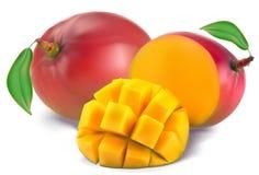 Mango met sectie Stock Foto's