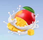 Mango and milk splash. Fruit and yogurt. 3d vector icon Royalty Free Stock Photos
