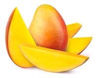 Mango mit der Scheibe lokalisiert Lizenzfreies Stockfoto