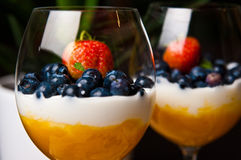 Mango mousse with blueberries in wine glasses. Tasty dessert of mango mousse with natural youghurt, blueberries and strawberry. Whole series with sebczseries953 Royalty Free Stock Photo