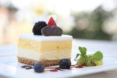 Mango mousse cheese cake. In close up royalty free stock images