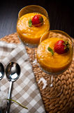 Mango mousse with chia seeds and coconut milk Royalty Free Stock Images