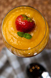 Mango mousse with chia seeds and coconut milk Stock Images