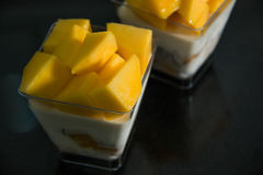Mango mousse in cup. Stock Image