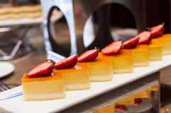 Mango mousse with strawberry Royalty Free Stock Photos