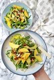 Mango- och avokadosallad Arkivbild