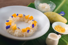 Mango och klibbiga ris arkivbilder