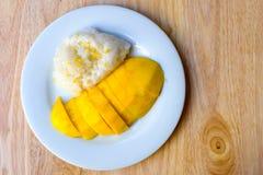 Mango och klibbiga ris Fotografering för Bildbyråer