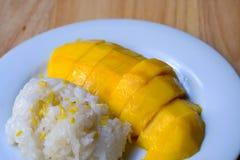 Mango och klibbiga ris Royaltyfri Fotografi