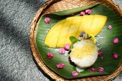 Mango och klibbiga ris, söt thai stilefterrätt Royaltyfri Fotografi