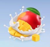 Mango och mjölkar färgstänk Frukt och yoghurt vektor för symbol 3d Royaltyfria Foton