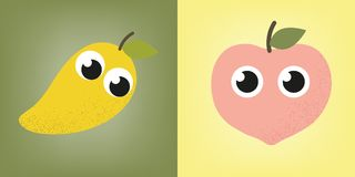 Mango och persika Royaltyfri Fotografi
