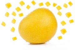 Mango och skivor Fotografering för Bildbyråer