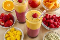 Mango Orange Raspberry Strawberry Smoothies Stock Photography