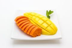 Mango and Papaya on white background Stock Photos