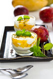 Mango and Passion fruit dessert Stock Photos