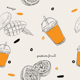 Mango and passion fruit smoothie seamless pattern. Mango and passion fruit smoothie for juice bar , beverage seamless pattern Royalty Free Stock Image