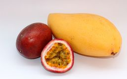 Mango and passion fruits Royalty Free Stock Photo