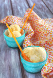 Mango and peach ice cream. Homemade Mango and peach ice cream Royalty Free Stock Images