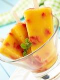 Mango-Peach Ice Cream with Strawberry Royalty Free Stock Photo
