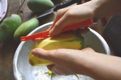 Mango, pellende mango, mango Ekiiweswi Stock Afbeeldingen