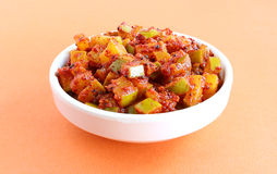 Mango Pickle. Raw mango pickle, an Indian traditional side dish, in a bowl Royalty Free Stock Photos