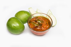 Mango pickle. Refers to a variety of pickles prepared using mango. This is a very popular pickle in South Asia. These sometimes spicy pickles are also available Royalty Free Stock Photo