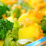 Mango Piece on Light Salad Royalty Free Stock Photography