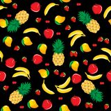 Mango pineapple apple strawberry banana cherry mix fruits seamless pattern on black background Royalty Free Stock Photos