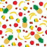 Mango pineapple apple strawberry banana cherry mix fruits seamless pattern on white background. Mango pineapple apple strawberry banana cherry mix fruits contour stock illustration