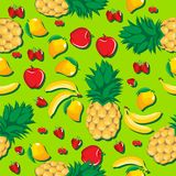 Mango pineapple apple strawberry banana cherry mix fruits with shadow seamless pattern on light green background. Mango pineapple apple strawberry banana cherry Stock Photography
