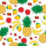 Mango pineapple apple strawberry banana cherry mix fruits with shadow seamless pattern on white background Stock Images