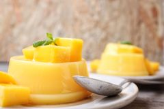 Mango pudding Royalty Free Stock Images