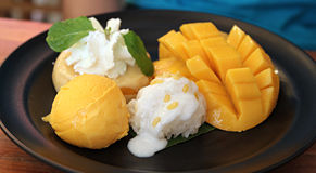 Mango Pudding. With Mango Ice-cream and Mango stock photo