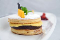 Mango puff pastry. Photograph of mango chocolate puff pastry Royalty Free Stock Photos