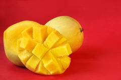 Mango on Red Royalty Free Stock Photos