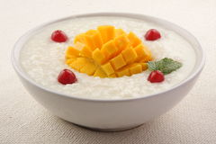 Mango rice pudding served for breakfast Royalty Free Stock Photography