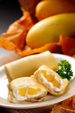 Mango Roll. A plate of mango roll dessert Stock Image