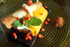 Mango roll cake Stock Photos