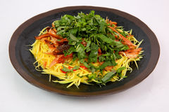 Mango salad with dried minced snake head fish in Mekong style on Stock Images