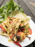 Mango salad or Som Tam Mango. Thai delicious green Mango salad taste hot and spicy Stock Image