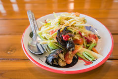 Mango salad or Som Tam Mango. Thai delicious green Mango salad taste hot and spicy Stock Images