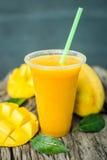 Mango shake. Fresh tropical fruit smoothies Stock Photos