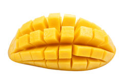 mango slice cut to cubes close up isolated Stock Images